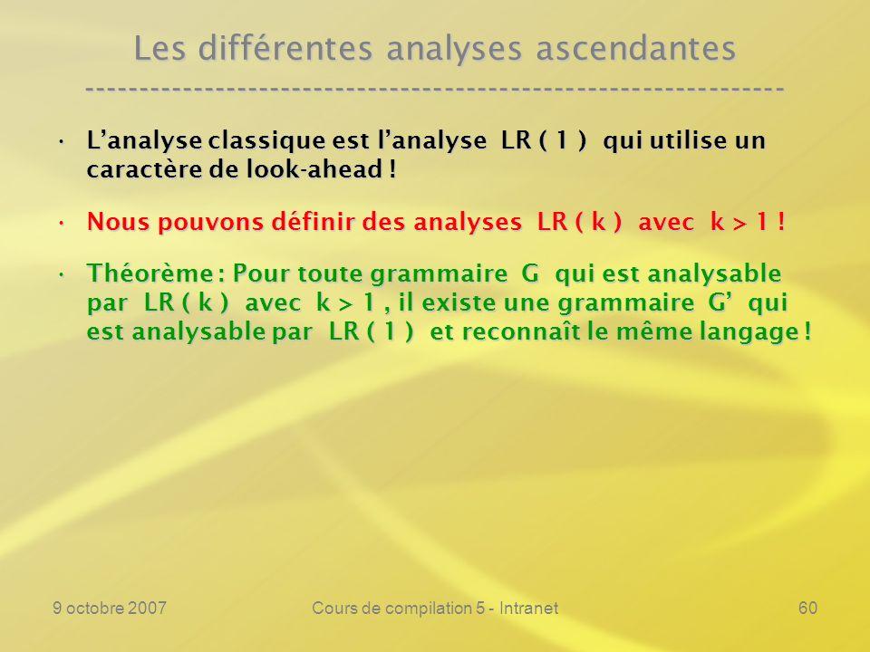 9 octobre 2007Cours de compilation 5 - Intranet61 Les différentes analyses ascendantes ---------------------------------------------------------------- Lanalyse classique est lanalyse LR ( 1 ) qui utilise un caractère de look-ahead !Lanalyse classique est lanalyse LR ( 1 ) qui utilise un caractère de look-ahead .