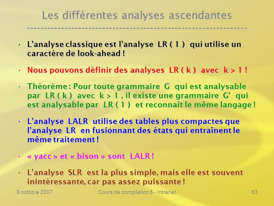 9 octobre 2007Cours de compilation 5 - Intranet63 Les différentes analyses ascendantes ---------------------------------------------------------------- Lanalyse classique est lanalyse LR ( 1 ) qui utilise un caractère de look-ahead !Lanalyse classique est lanalyse LR ( 1 ) qui utilise un caractère de look-ahead .