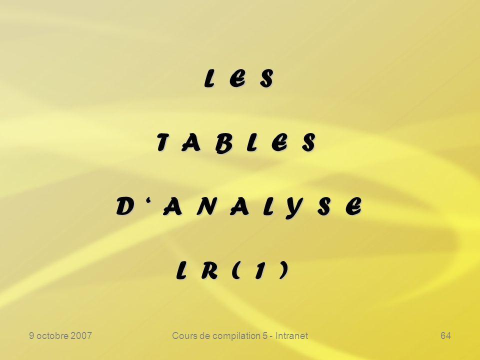 9 octobre 2007Cours de compilation 5 - Intranet64 L E S T A B L E S D A N A L Y S E L R ( 1 )
