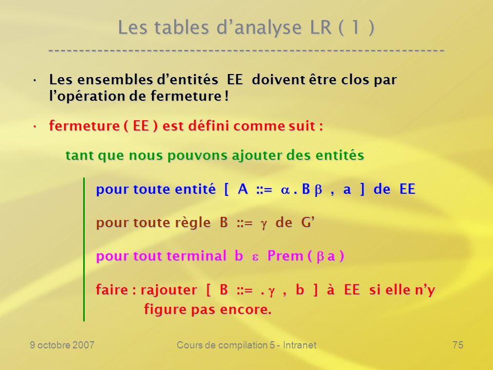 9 octobre 2007Cours de compilation 5 - Intranet75 Les tables danalyse LR ( 1 ) ---------------------------------------------------------------- Les ensembles dentités EE doivent être clos par lopération de fermeture !Les ensembles dentités EE doivent être clos par lopération de fermeture .