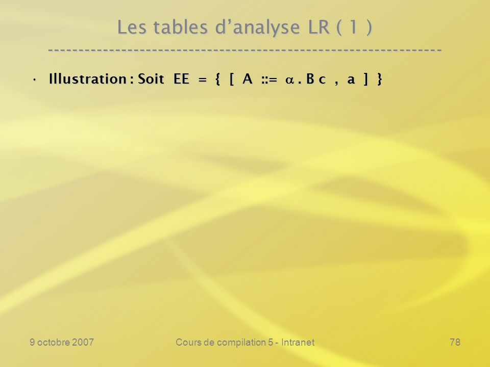 9 octobre 2007Cours de compilation 5 - Intranet78 Les tables danalyse LR ( 1 ) ---------------------------------------------------------------- Illust