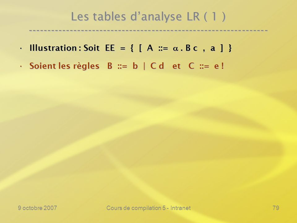 9 octobre 2007Cours de compilation 5 - Intranet79 Les tables danalyse LR ( 1 ) ---------------------------------------------------------------- Illust