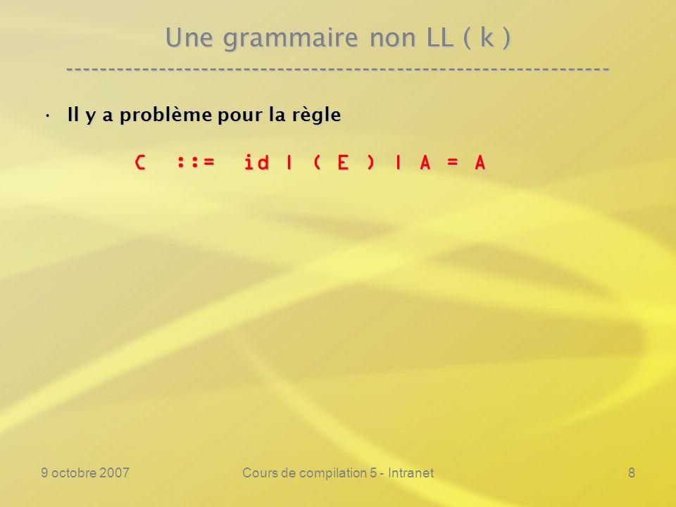 9 octobre 2007Cours de compilation 5 - Intranet9 Une grammaire non LL ( k ) ---------------------------------------------------------------- Il y a problème pour la règleIl y a problème pour la règle C ::= id | ( E ) | A = A C ::= id | ( E ) | A = A car ( Prem ( ( E ) ) v Prem ( A = A ) car ( Prem ( ( E ) ) v Prem ( A = A )