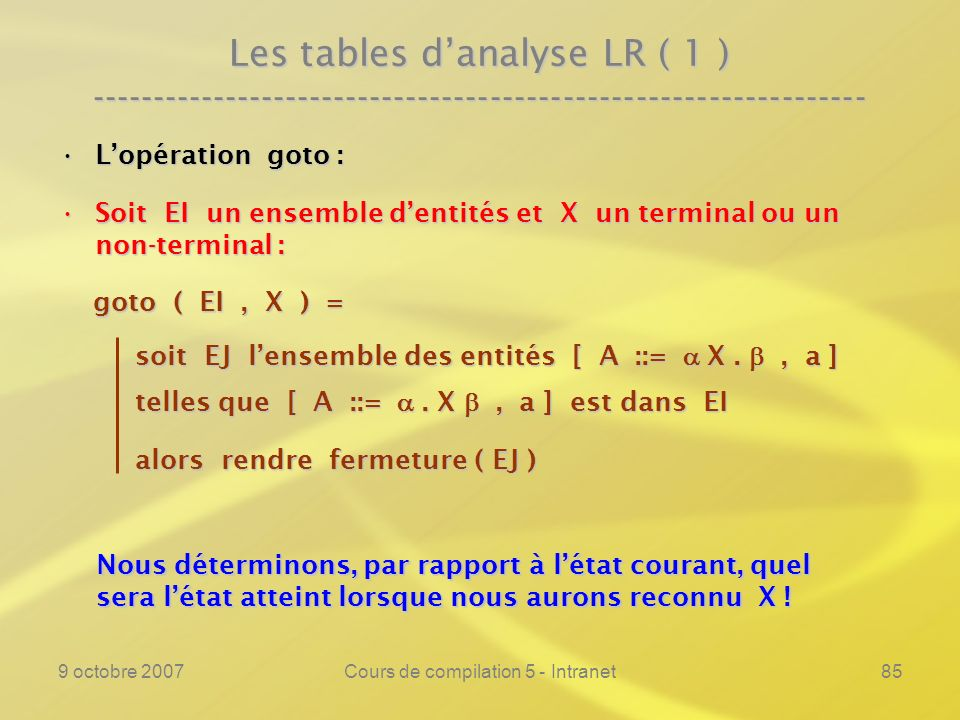9 octobre 2007Cours de compilation 5 - Intranet85 Les tables danalyse LR ( 1 ) ---------------------------------------------------------------- Lopéra