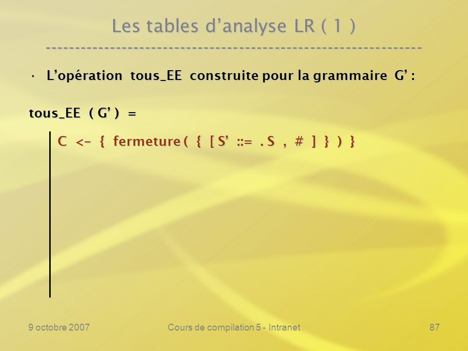 9 octobre 2007Cours de compilation 5 - Intranet87 Les tables danalyse LR ( 1 ) ---------------------------------------------------------------- Lopéra