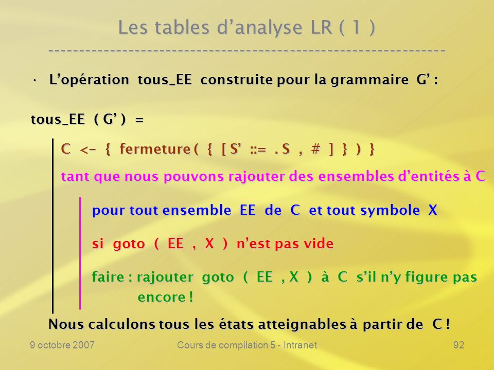 9 octobre 2007Cours de compilation 5 - Intranet92 Les tables danalyse LR ( 1 ) ---------------------------------------------------------------- Lopéra