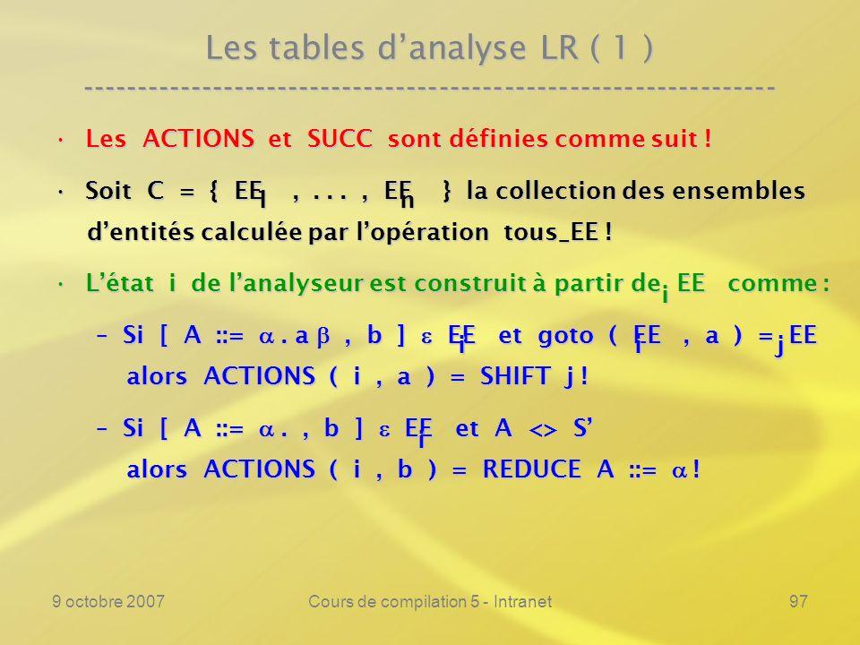 9 octobre 2007Cours de compilation 5 - Intranet98 Les tables danalyse LR ( 1 ) ---------------------------------------------------------------- Les ACTIONS et SUCC sont définies comme suit !Les ACTIONS et SUCC sont définies comme suit .