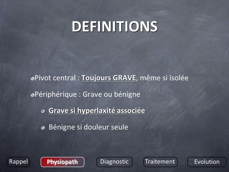 DEFINITIONS Toujours GRAVE Pivot central : Toujours GRAVE, même si isolée Périphérique : Grave ou bénigne Grave si hyperlaxité associée Bénigne si dou