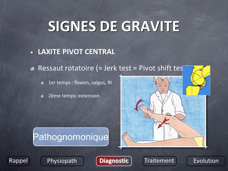SIGNES DE GRAVITE LAXITE PIVOT CENTRAL Ressaut rotatoire (= Jerk test = Pivot shift test) 1er temps : flexion, valgus, RI 2ème temps: extension Rappel