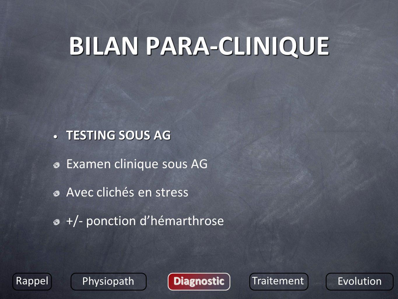 BILAN PARA-CLINIQUE TESTING SOUS AG TESTING SOUS AG Examen clinique sous AG Avec clichés en stress +/- ponction dhémarthrose Rappel Physiopath Diagnos
