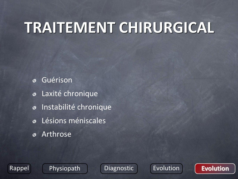TRAITEMENT CHIRURGICAL Guérison Laxité chronique Instabilité chronique Lésions méniscales Arthrose Rappel Physiopath DiagnosticEvolution Evolution