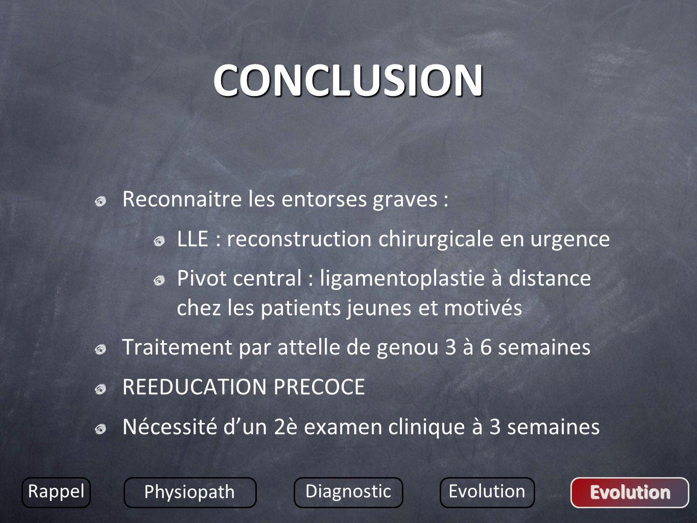 CONCLUSION Reconnaitre les entorses graves : LLE : reconstruction chirurgicale en urgence Pivot central : ligamentoplastie à distance chez les patient