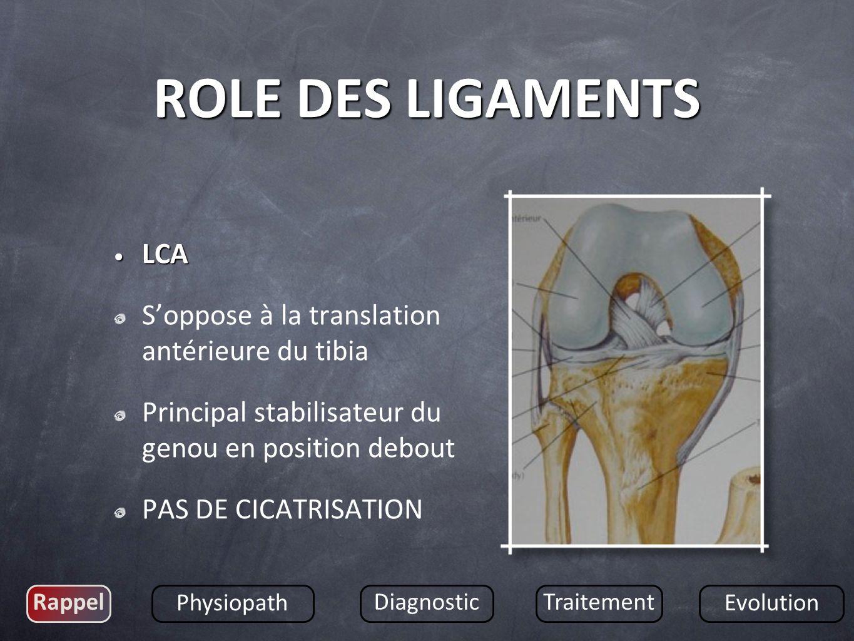 LCP LCP Soppose à la translation postérieure du tibia Pendant la flexion du genou Peut cicatriser Rappel Physiopath DiagnosticTraitement Evolution ROLE DES LIGAMENTS