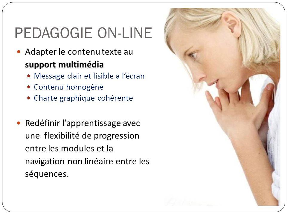 PEDAGOGIE ON-LINE Adapter le contenu texte au support multimédia Message clair et lisible a lécran Contenu homogène Charte graphique cohérente Redéfin