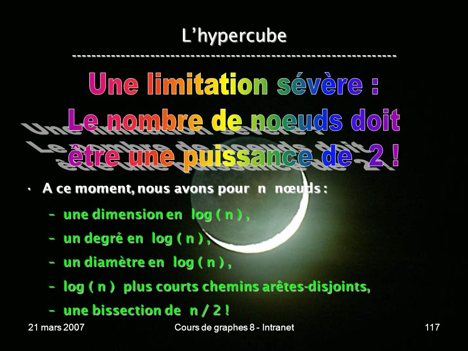 21 mars 2007Cours de graphes 8 - Intranet117 Lhypercube ----------------------------------------------------------------- A ce moment, nous avons pour n nœuds :A ce moment, nous avons pour n nœuds : –une dimension en log ( n ), –un degré en log ( n ), –un diamètre en log ( n ), –log ( n ) plus courts chemins arêtes-disjoints, –une bissection de n / 2 !