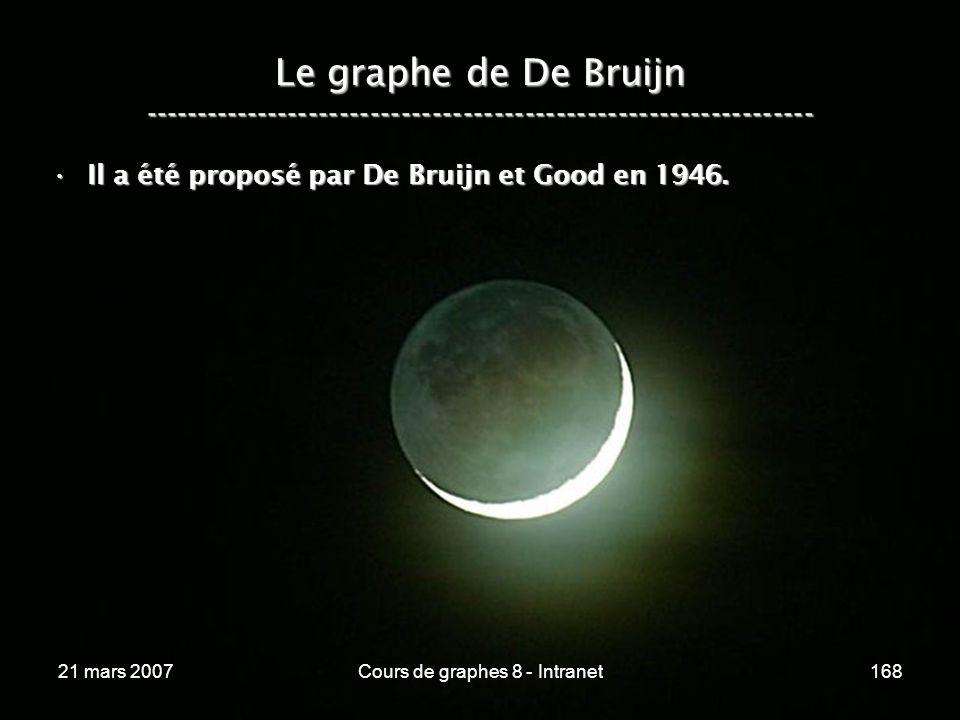 21 mars 2007Cours de graphes 8 - Intranet168 Le graphe de De Bruijn ----------------------------------------------------------------- Il a été proposé par De Bruijn et Good en 1946.Il a été proposé par De Bruijn et Good en 1946.