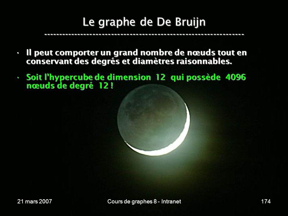 21 mars 2007Cours de graphes 8 - Intranet174 Le graphe de De Bruijn ----------------------------------------------------------------- Il peut comporter un grand nombre de nœuds tout en conservant des degrés et diamètres raisonnables.Il peut comporter un grand nombre de nœuds tout en conservant des degrés et diamètres raisonnables.