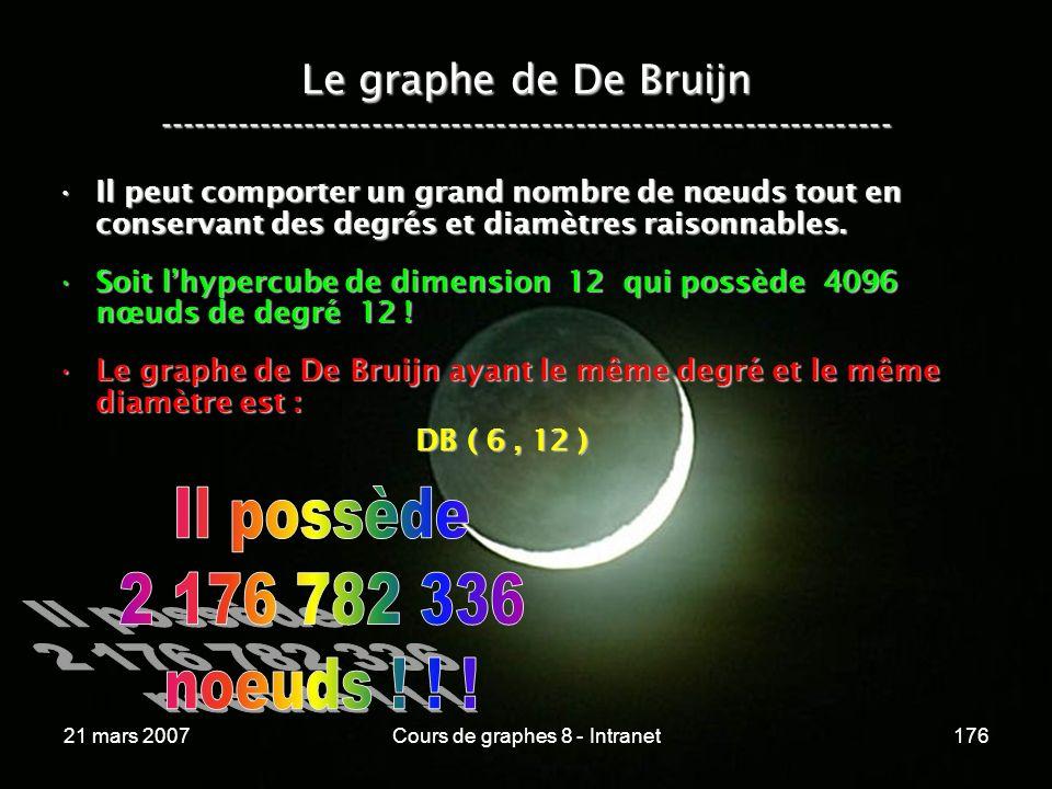 21 mars 2007Cours de graphes 8 - Intranet176 Le graphe de De Bruijn ----------------------------------------------------------------- Il peut comporter un grand nombre de nœuds tout en conservant des degrés et diamètres raisonnables.Il peut comporter un grand nombre de nœuds tout en conservant des degrés et diamètres raisonnables.