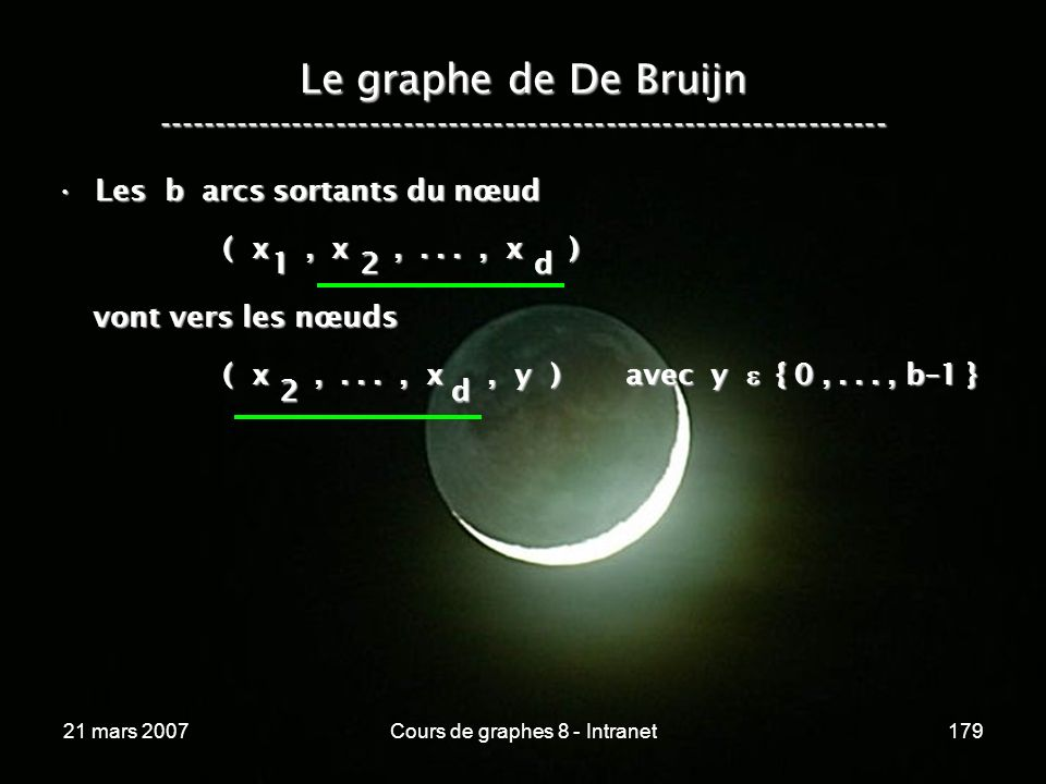 21 mars 2007Cours de graphes 8 - Intranet179 Le graphe de De Bruijn ----------------------------------------------------------------- Les b arcs sortants du nœudLes b arcs sortants du nœud ( x, x,..., x ) ( x, x,..., x ) vont vers les nœuds vont vers les nœuds ( x,..., x, y ) avec y { 0,..., b–1 } ( x,..., x, y ) avec y { 0,..., b–1 } 1 2 d2 d