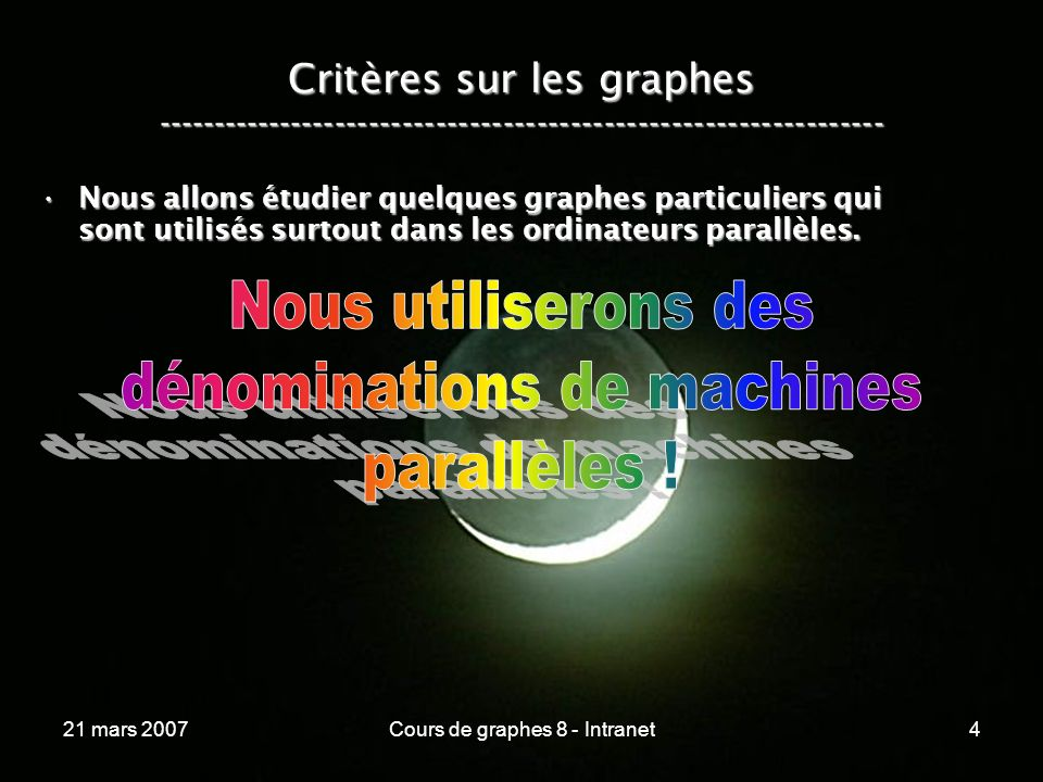21 mars 2007Cours de graphes 8 - Intranet115 Lhypercube ----------------------------------------------------------------- Un hypercube de dimension n :Un hypercube de dimension n : –comporte 2 nœuds, –est régulier en structure et en degré qui vaut n, –a un diamètre n et une bissection de 2, –permet dy plonger un anneau, –possède un routage simple et intuitif, –possède n plus courts chemins arêtes-disjoints.