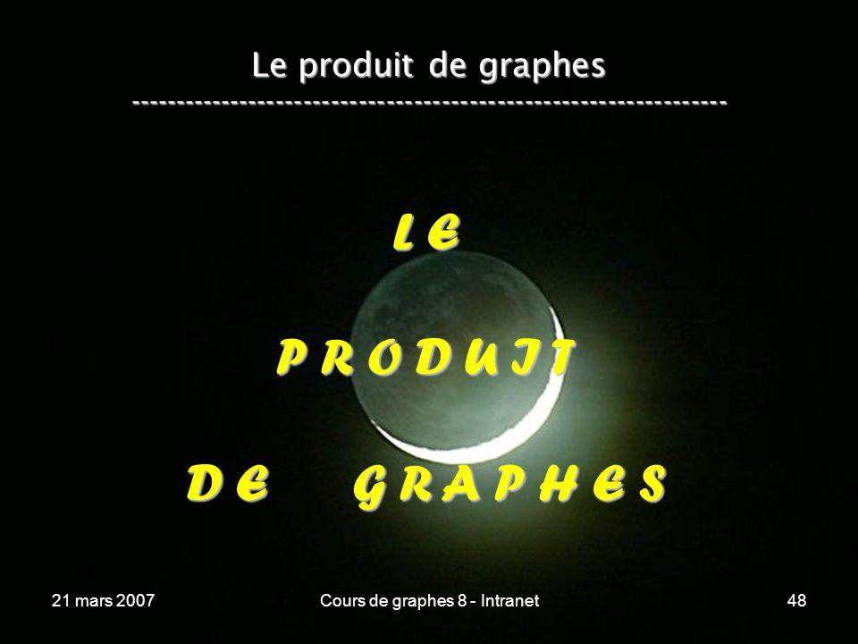 21 mars 2007Cours de graphes 8 - Intranet48 Le produit de graphes ----------------------------------------------------------------- L E P R O D U I T D E G R A P H E S