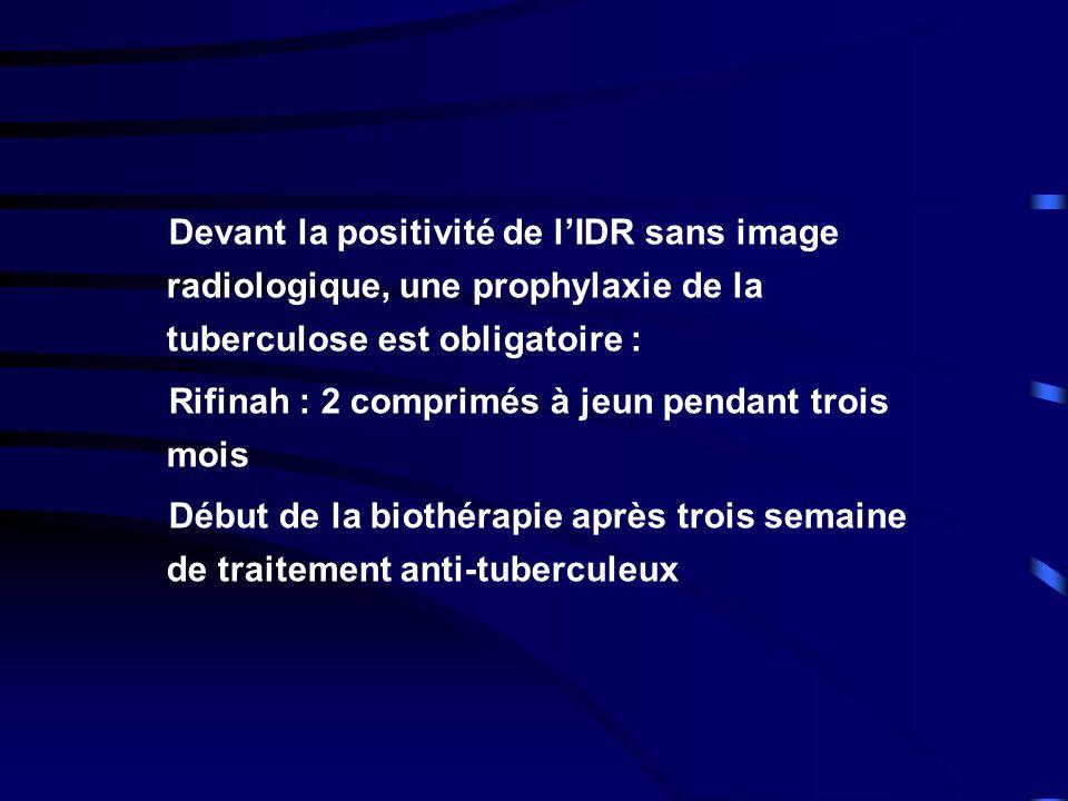 Devant la positivité de lIDR sans image radiologique, une prophylaxie de la tuberculose est obligatoire : Rifinah : 2 comprimés à jeun pendant trois m