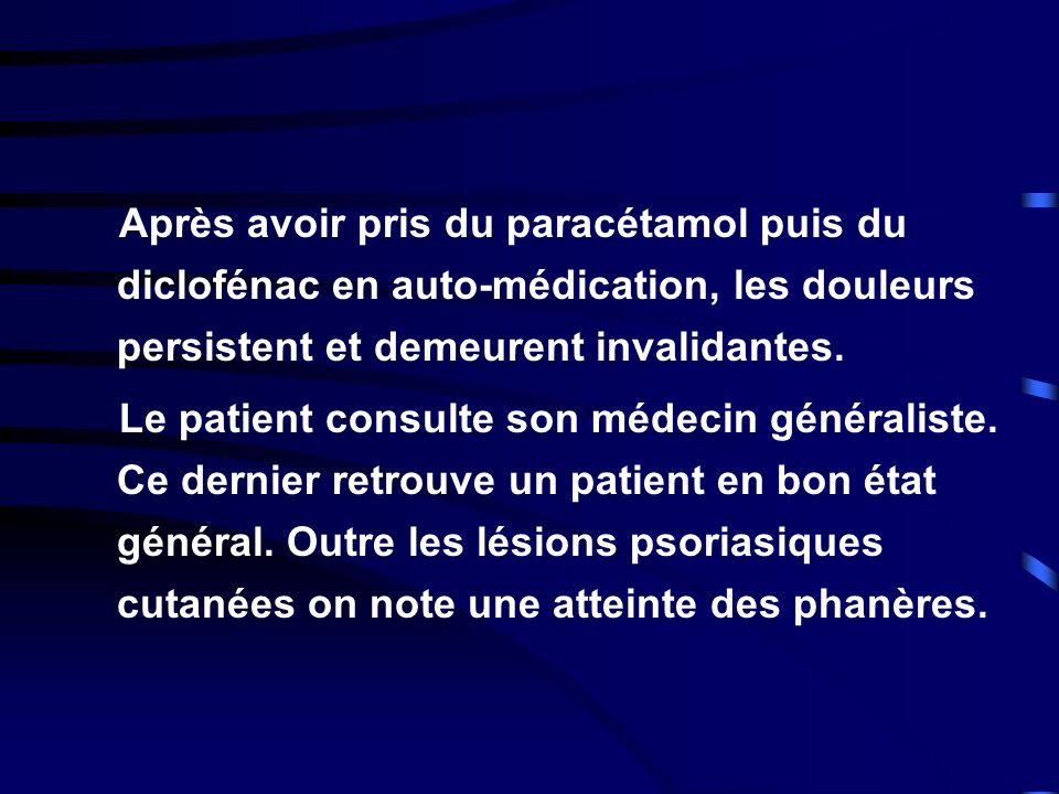 Après avoir pris du paracétamol puis du diclofénac en auto-médication, les douleurs persistent et demeurent invalidantes. Le patient consulte son méde