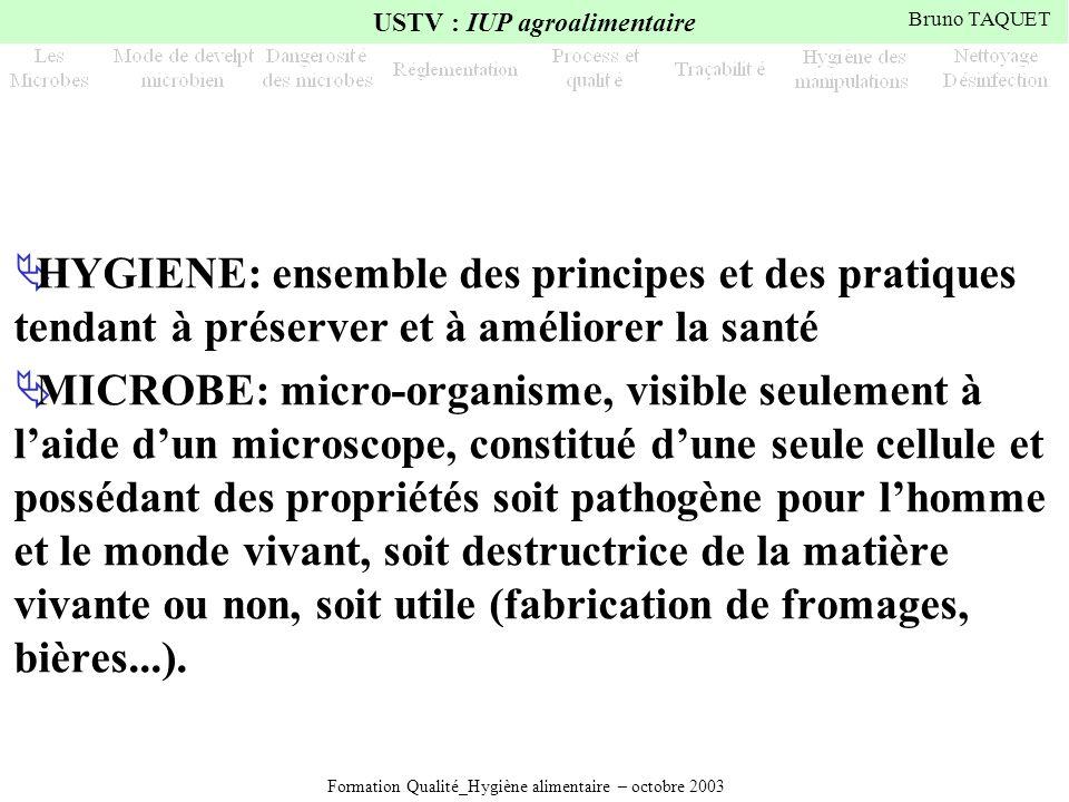 Formation Qualité_Hygiène alimentaire – octobre 2003 USTV : IUP agroalimentaire Bruno TAQUET HYGIENE: ensemble des principes et des pratiques tendant
