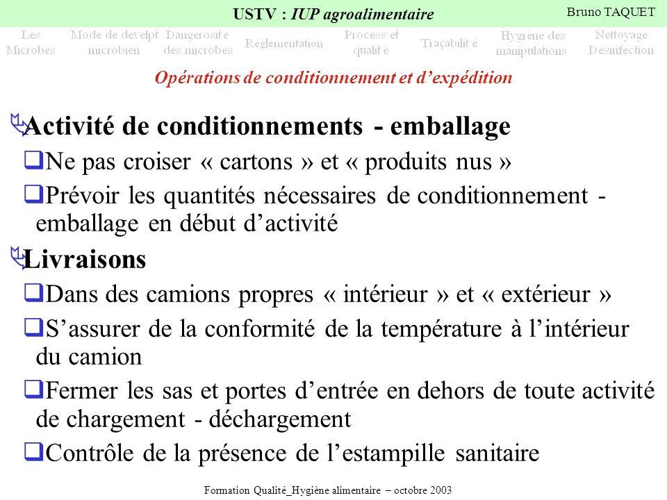 Formation Qualité_Hygiène alimentaire – octobre 2003 USTV : IUP agroalimentaire Bruno TAQUET Opérations de conditionnement et dexpédition Activité de