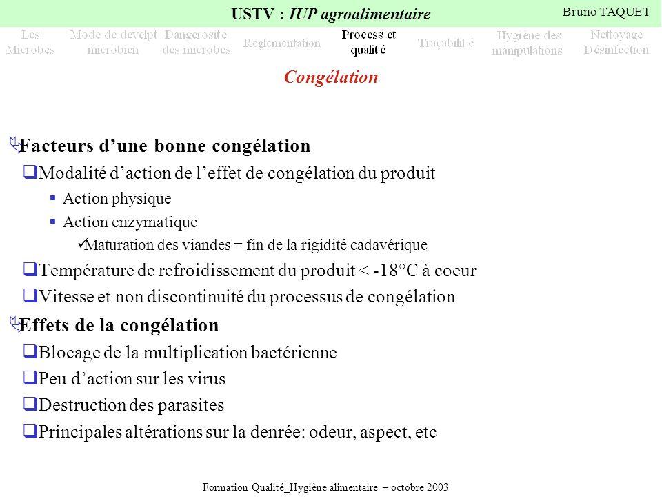 Formation Qualité_Hygiène alimentaire – octobre 2003 USTV : IUP agroalimentaire Bruno TAQUET Congélation Facteurs dune bonne congélation Modalité dact
