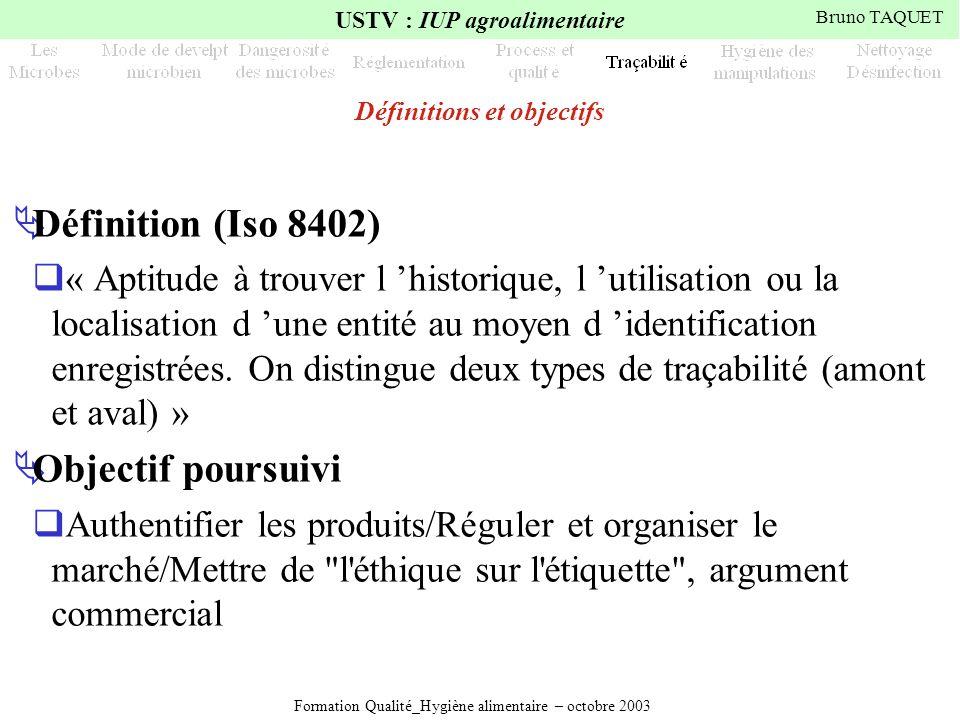 Formation Qualité_Hygiène alimentaire – octobre 2003 USTV : IUP agroalimentaire Bruno TAQUET Définitions et objectifs Définition (Iso 8402) « Aptitude