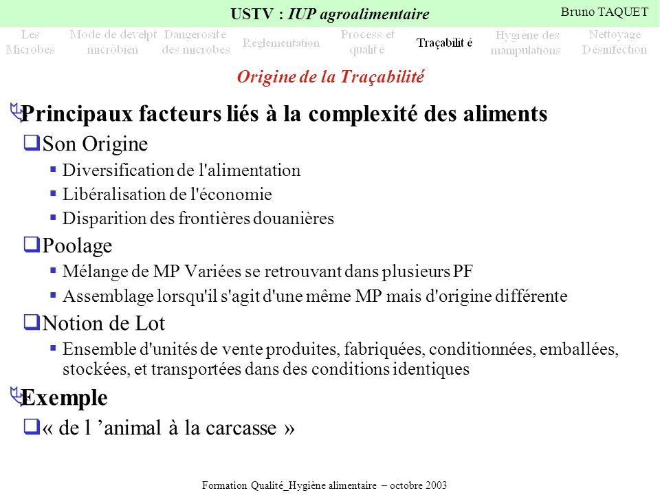 Formation Qualité_Hygiène alimentaire – octobre 2003 USTV : IUP agroalimentaire Bruno TAQUET Origine de la Traçabilité Principaux facteurs liés à la c