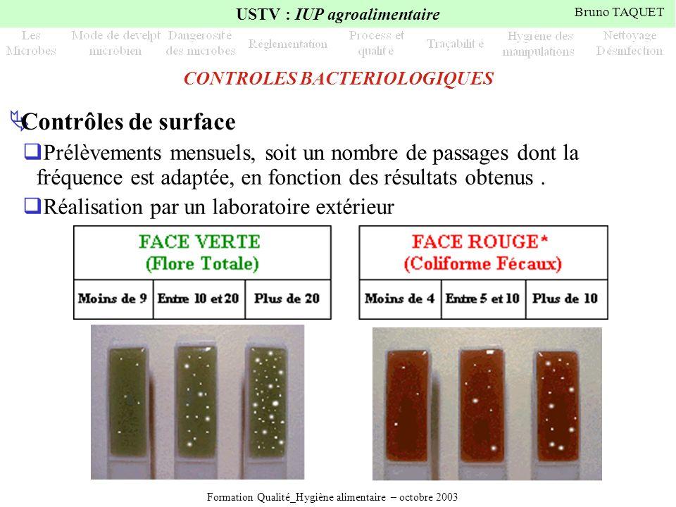 Formation Qualité_Hygiène alimentaire – octobre 2003 USTV : IUP agroalimentaire Bruno TAQUET CONTROLES BACTERIOLOGIQUES Contrôles de surface Prélèveme