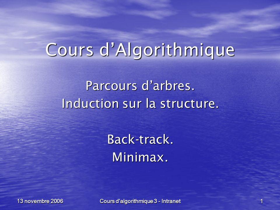 Cours d'algorithmique 3 - Intranet 1 13 novembre 2006 Cours dAlgorithmique Parcours darbres. Induction sur la structure. Back-track.Minimax.