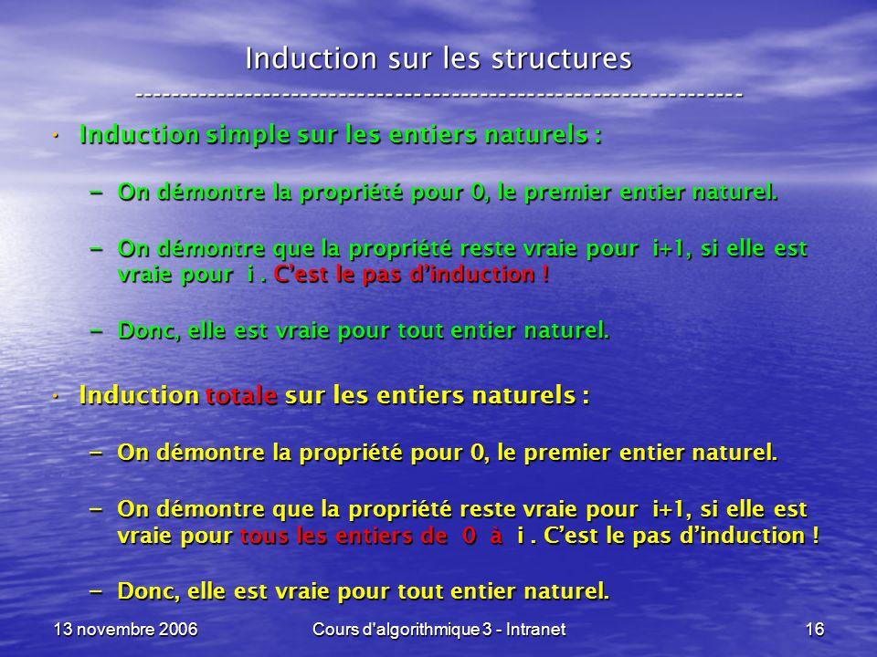13 novembre 2006Cours d'algorithmique 3 - Intranet16 Induction sur les structures ----------------------------------------------------------------- In
