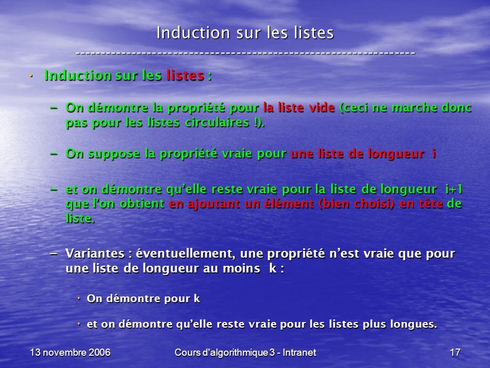 13 novembre 2006Cours d'algorithmique 3 - Intranet17 Induction sur les listes ----------------------------------------------------------------- Induct