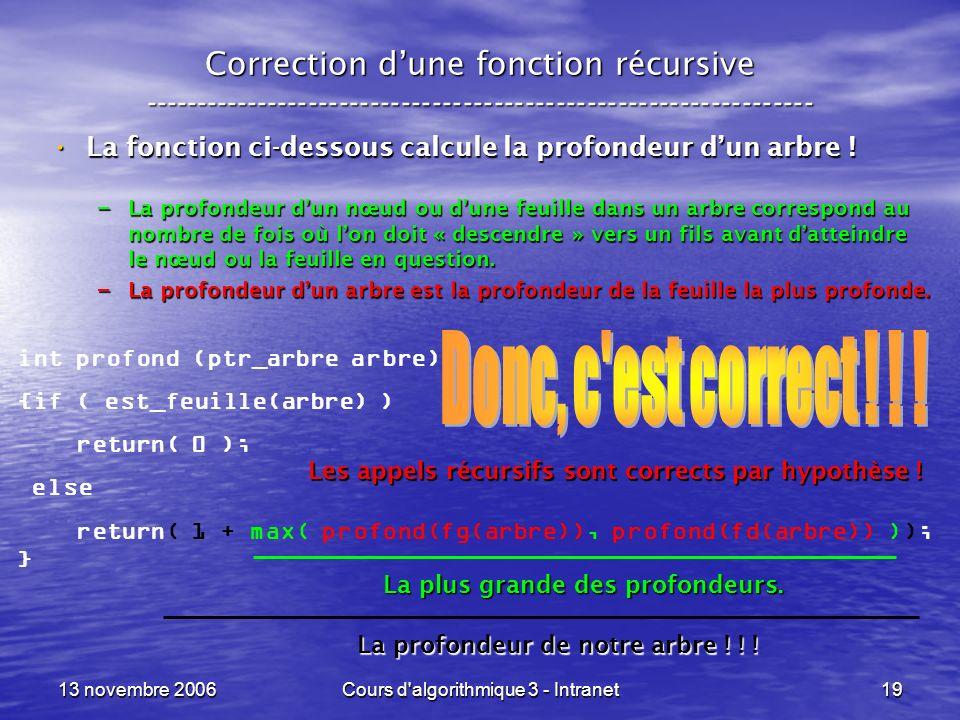 13 novembre 2006Cours d'algorithmique 3 - Intranet19 Correction dune fonction récursive --------------------------------------------------------------