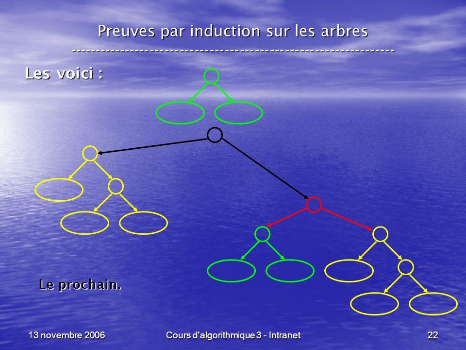 13 novembre 2006Cours d'algorithmique 3 - Intranet22 Preuves par induction sur les arbres ------------------------------------------------------------