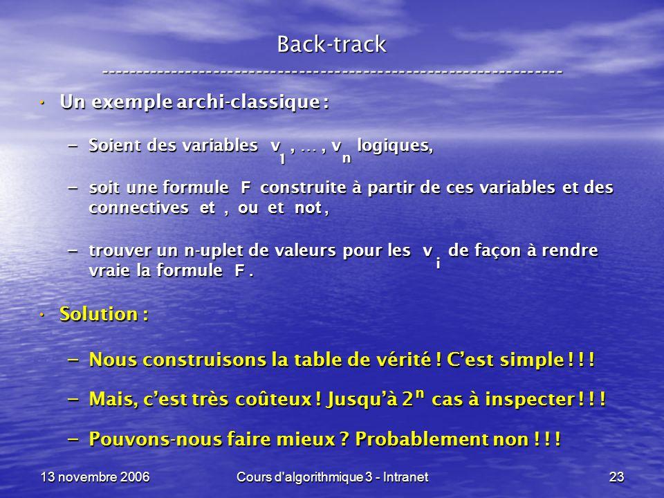 13 novembre 2006Cours d'algorithmique 3 - Intranet23 Back-track ----------------------------------------------------------------- Un exemple archi-cla