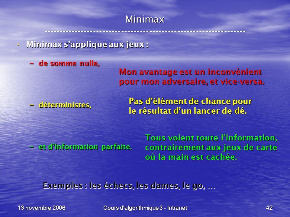 13 novembre 2006Cours d'algorithmique 3 - Intranet42 Minimax ----------------------------------------------------------------- Minimax sapplique aux j