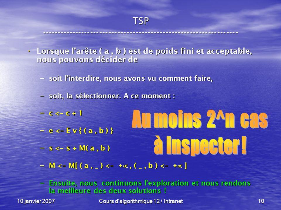 10 janvier 2007Cours d'algorithmique 12 / Intranet10 Lorsque larête ( a, b ) est de poids fini et acceptable, nous pouvons décider de Lorsque larête (
