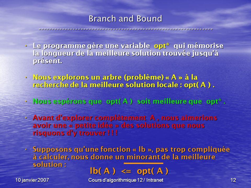 10 janvier 2007Cours d'algorithmique 12 / Intranet12 Le programme gère une variable opt* qui mémorise la longueur de la meilleure solution trouvée jus