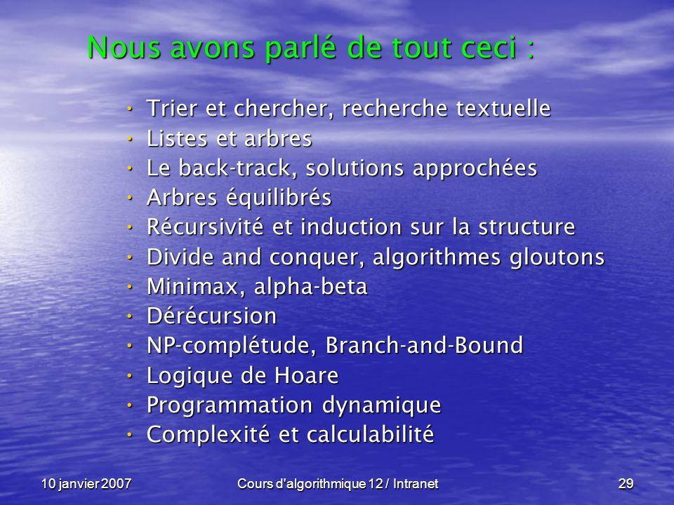 10 janvier 2007Cours d'algorithmique 12 / Intranet29 Trier et chercher, recherche textuelle Trier et chercher, recherche textuelle Listes et arbres Li