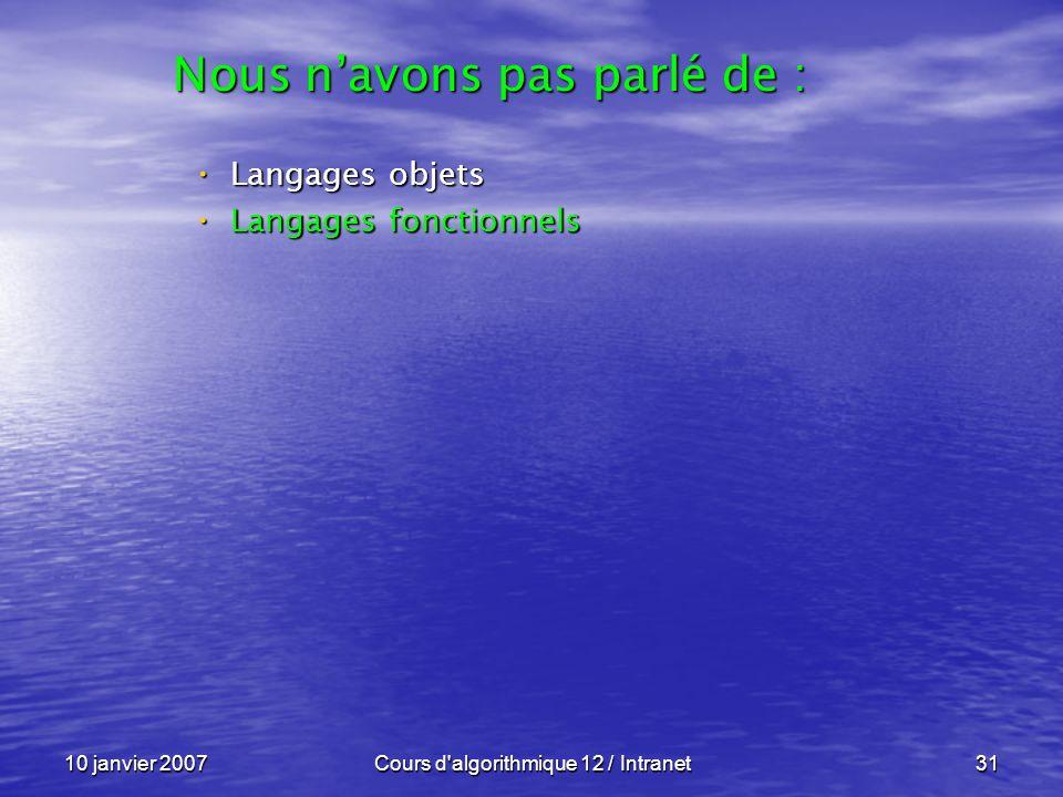 10 janvier 2007Cours d'algorithmique 12 / Intranet31 Langages objets Langages objets Langages fonctionnels Langages fonctionnels Nous navons pas parlé