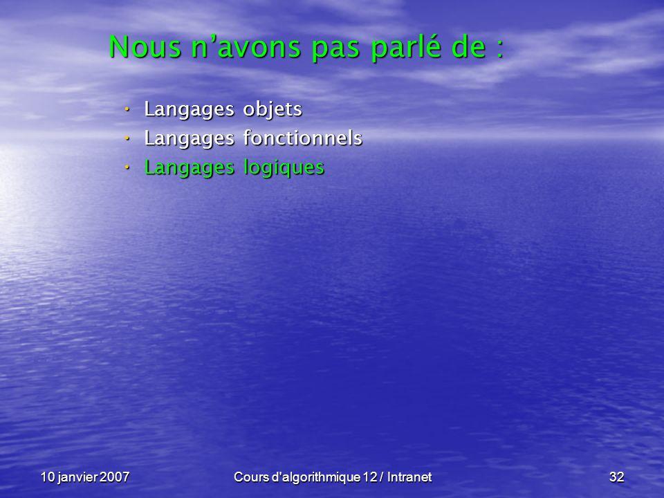 10 janvier 2007Cours d'algorithmique 12 / Intranet32 Langages objets Langages objets Langages fonctionnels Langages fonctionnels Langages logiques Lan