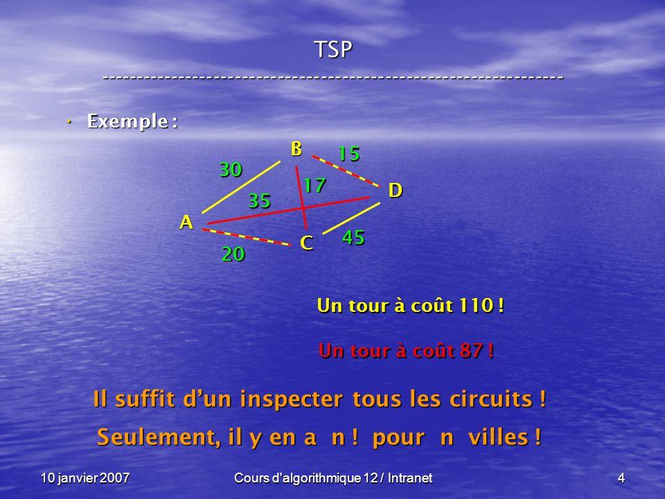 10 janvier 2007Cours d'algorithmique 12 / Intranet4 Exemple : Exemple : A B C D 30 35 20 45 17 15 TSP ------------------------------------------------