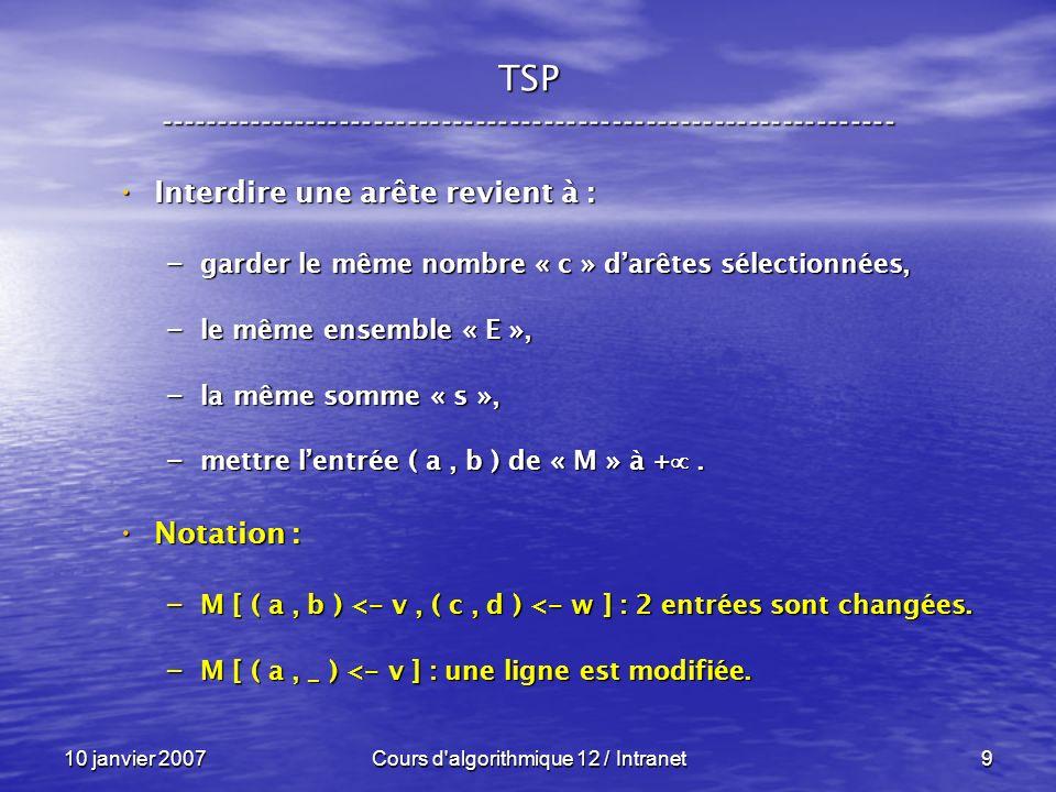 10 janvier 2007Cours d'algorithmique 12 / Intranet9 Interdire une arête revient à : Interdire une arête revient à : – garder le même nombre « c » darê