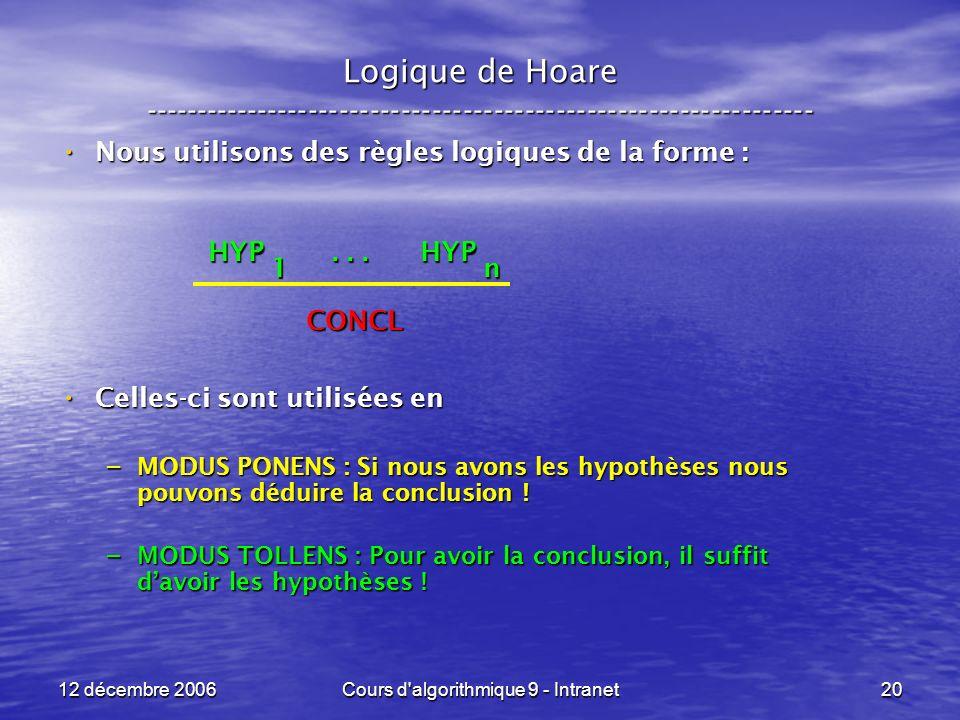 12 décembre 2006Cours d algorithmique 9 - Intranet20 Logique de Hoare ----------------------------------------------------------------- Nous utilisons des règles logiques de la forme : Nous utilisons des règles logiques de la forme : Celles-ci sont utilisées en Celles-ci sont utilisées en – MODUS PONENS : Si nous avons les hypothèses nous pouvons déduire la conclusion .