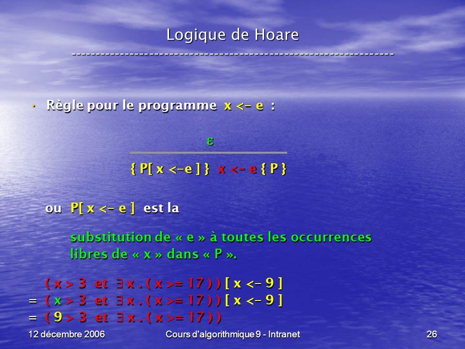 12 décembre 2006Cours d algorithmique 9 - Intranet26 Logique de Hoare ----------------------------------------------------------------- Règle pour le programme x < - e : Règle pour le programme x < - e : ou P[ x < - e ] est la ou P[ x < - e ] est la substitution de « e » à toutes les occurrences substitution de « e » à toutes les occurrences libres de « x » dans « P ».