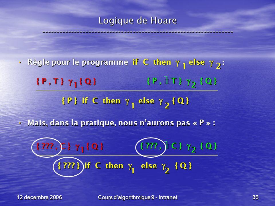 12 décembre 2006Cours d algorithmique 9 - Intranet35 Logique de Hoare ----------------------------------------------------------------- Règle pour le programme if C then else : Règle pour le programme if C then else : Mais, dans la pratique, nous naurons pas « P » : Mais, dans la pratique, nous naurons pas « P » : { P, T } { Q } { P } if C then else { Q } 21 1 2 2 { P, T } { Q } 1 { , C } { Q } { .